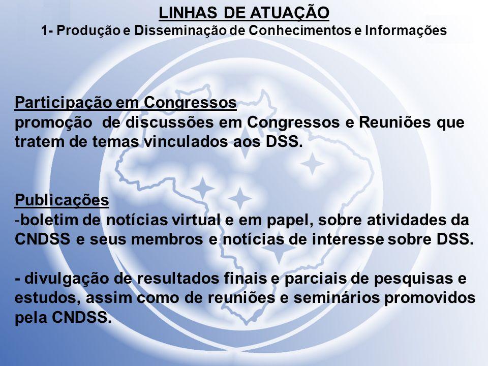 LINHAS DE ATUAÇÃO 1- Produção e Disseminação de Conhecimentos e Informações Participação em Congressos promoção de discussões em Congressos e Reuniões