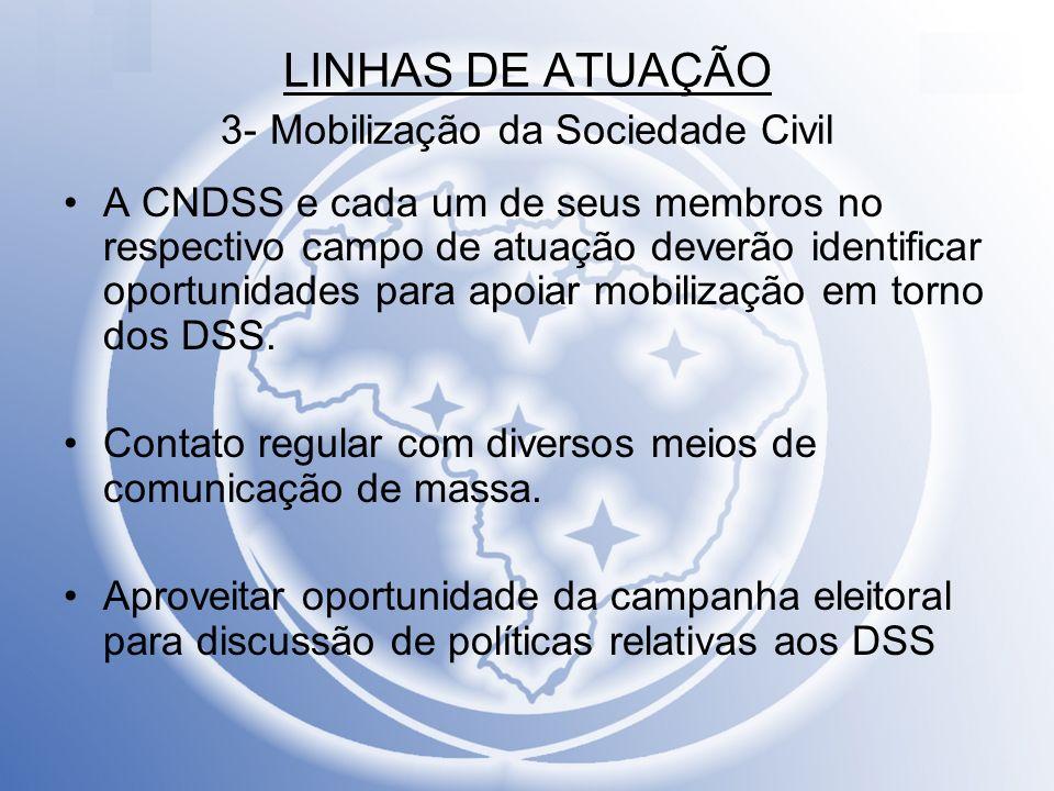 LINHAS DE ATUAÇÃO 3- Mobilização da Sociedade Civil A CNDSS e cada um de seus membros no respectivo campo de atuação deverão identificar oportunidades