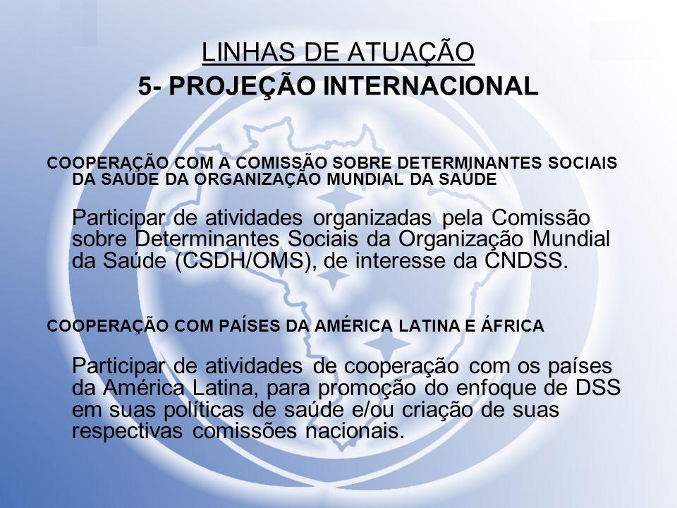LINHAS DE ATUAÇÃO 5- PROJEÇÃO INTERNACIONAL COOPERAÇÃO COM A COMISSÃO SOBRE DETERMINANTES SOCIAIS DA SAÚDE DA ORGANIZAÇÃO MUNDIAL DA SAÚDE Participar