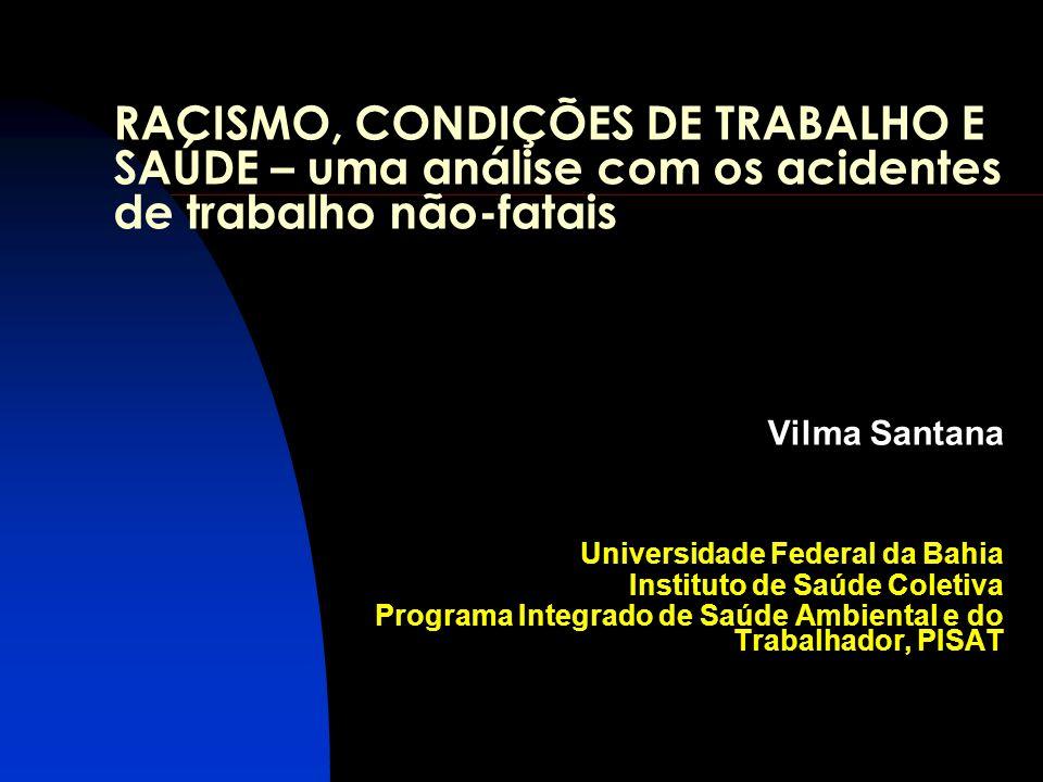 RACISMO, CONDIÇÕES DE TRABALHO E SAÚDE – uma análise com os acidentes de trabalho não-fatais Vilma Santana Universidade Federal da Bahia Instituto de