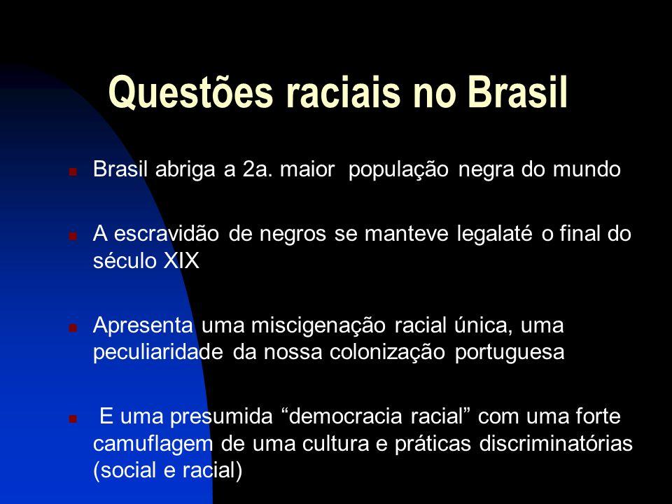 Questões raciais no Brasil Brasil abriga a 2a. maior população negra do mundo A escravidão de negros se manteve legalaté o final do século XIX Apresen