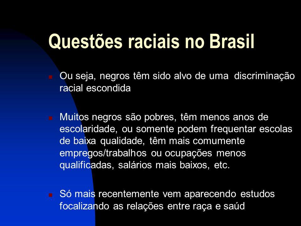 Questões raciais no Brasil Ou seja, negros têm sido alvo de uma discriminação racial escondida Muitos negros são pobres, têm menos anos de escolaridad