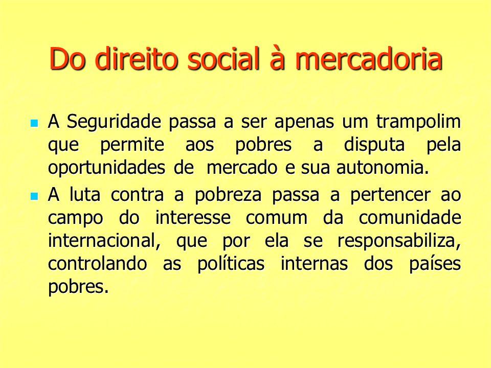 Do direito social à mercadoria A Seguridade passa a ser apenas um trampolim que permite aos pobres a disputa pela oportunidades de mercado e sua auton