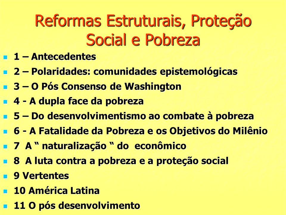 Reformas Estruturais, Proteção Social e Pobreza 1 – Antecedentes 1 – Antecedentes 2 – Polaridades: comunidades epistemológicas 2 – Polaridades: comuni