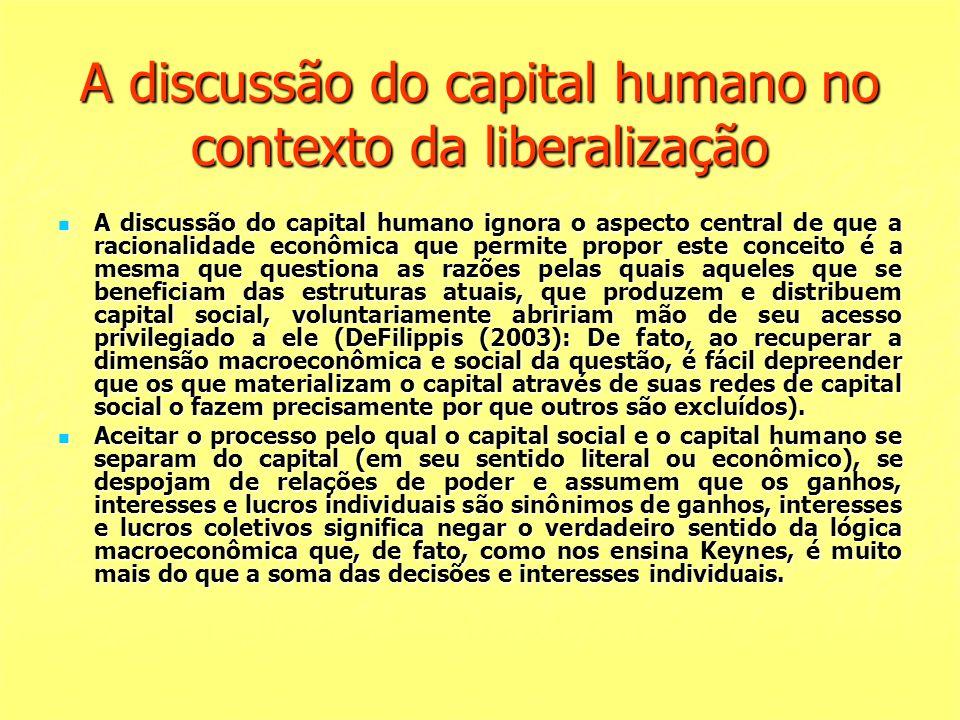 A discussão do capital humano no contexto da liberalização A discussão do capital humano ignora o aspecto central de que a racionalidade econômica que