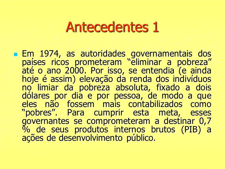 Antecedentes 1 Em 1974, as autoridades governamentais dos países ricos prometeram eliminar a pobreza até o ano 2000. Por isso, se entendia (e ainda ho