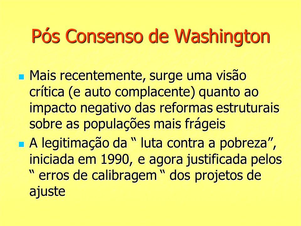 Pós Consenso de Washington Mais recentemente, surge uma visão crítica (e auto complacente) quanto ao impacto negativo das reformas estruturais sobre a