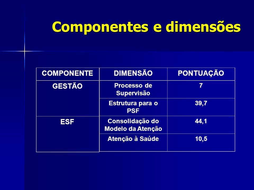 DIMENSÃOPONTUAÇÃO Processo de Supervisão 7 Estrutura para o PSF 39,7 Consolidação do Modelo da Atenção 44,1 Atenção à Saúde10,5 GESTÃO ESF COMPONENTE Componentes e dimensões