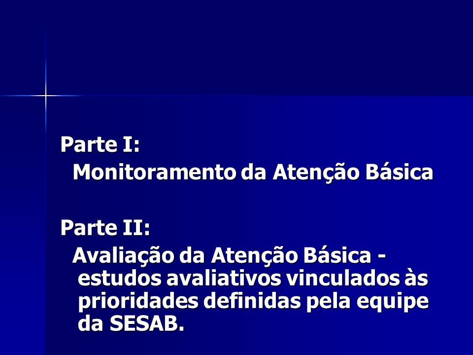 Parte I: Monitoramento da Atenção Básica Monitoramento da Atenção Básica Parte II: Avaliação da Atenção Básica - estudos avaliativos vinculados às prioridades definidas pela equipe da SESAB.
