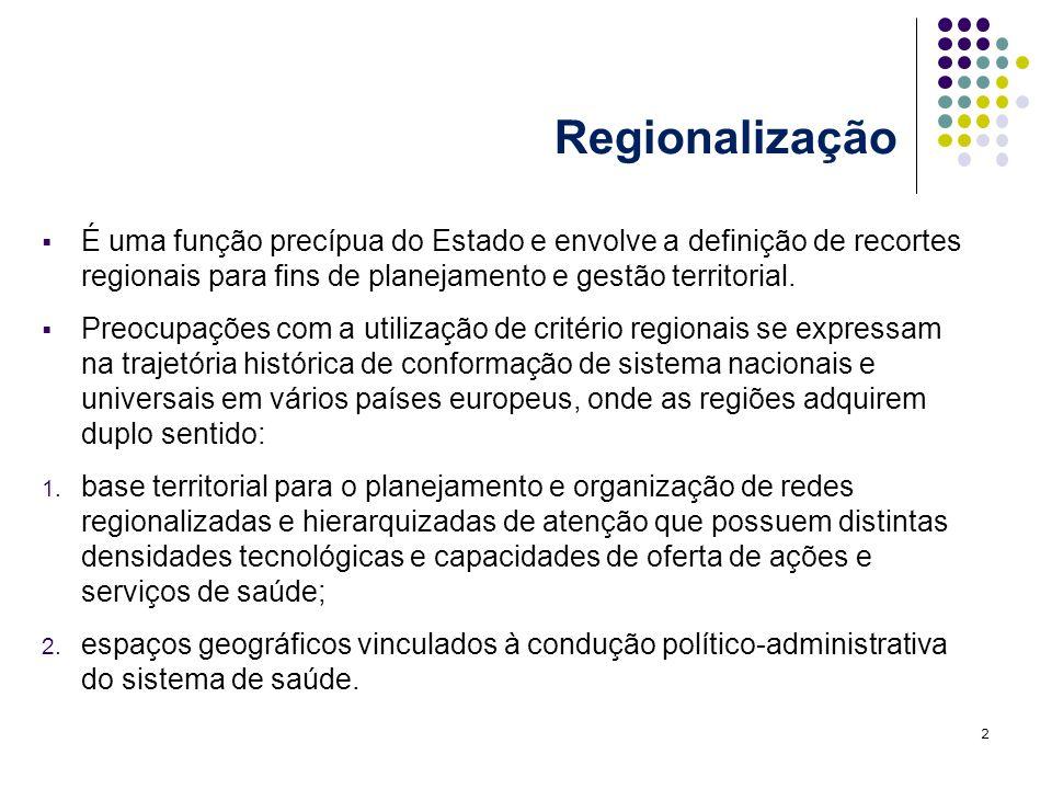Regionalização É uma função precípua do Estado e envolve a definição de recortes regionais para fins de planejamento e gestão territorial.