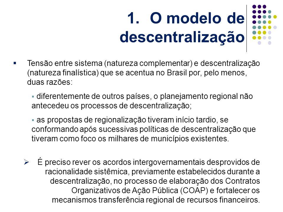 Tensão entre sistema (natureza complementar) e descentralização (natureza finalística) que se acentua no Brasil por, pelo menos, duas razões: diferentemente de outros países, o planejamento regional não antecedeu os processos de descentralização; as propostas de regionalização tiveram início tardio, se conformando após sucessivas políticas de descentralização que tiveram como foco os milhares de municípios existentes.