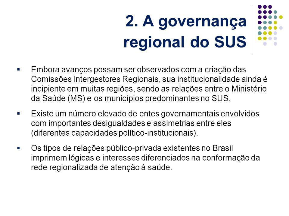Embora avanços possam ser observados com a criação das Comissões Intergestores Regionais, sua institucionalidade ainda é incipiente em muitas regiões, sendo as relações entre o Ministério da Saúde (MS) e os municípios predominantes no SUS.