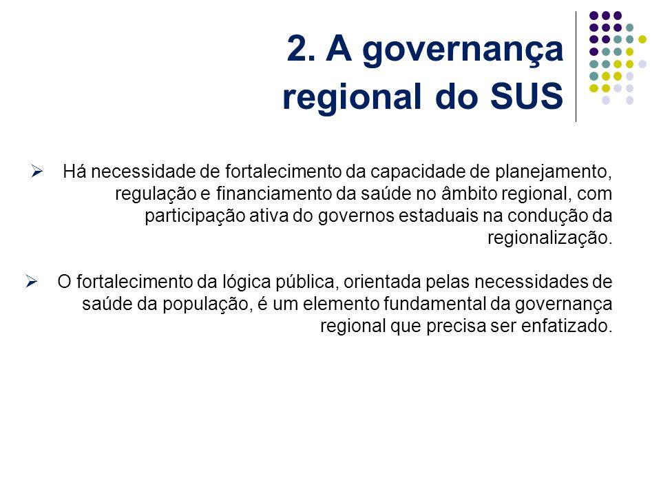 Há necessidade de fortalecimento da capacidade de planejamento, regulação e financiamento da saúde no âmbito regional, com participação ativa do governos estaduais na condução da regionalização.