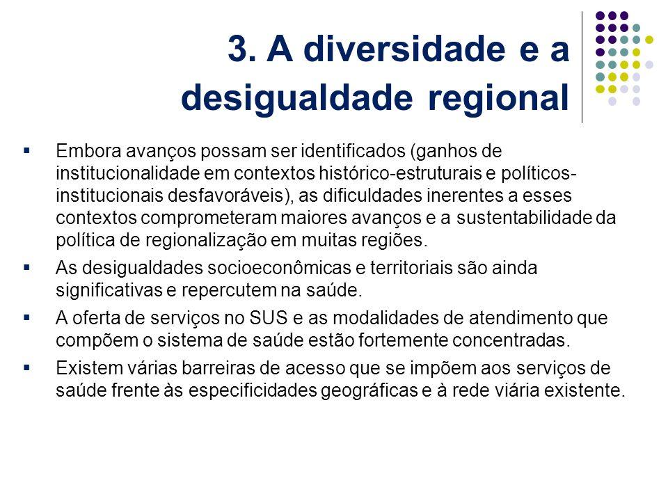 Embora avanços possam ser identificados (ganhos de institucionalidade em contextos histórico-estruturais e políticos- institucionais desfavoráveis), as dificuldades inerentes a esses contextos comprometeram maiores avanços e a sustentabilidade da política de regionalização em muitas regiões.