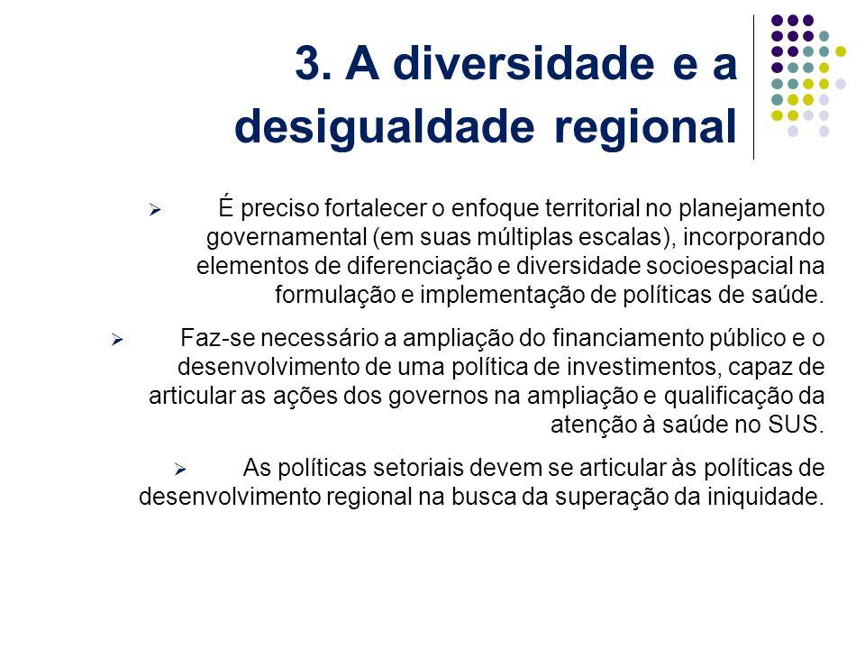 É preciso fortalecer o enfoque territorial no planejamento governamental (em suas múltiplas escalas), incorporando elementos de diferenciação e diversidade socioespacial na formulação e implementação de políticas de saúde.