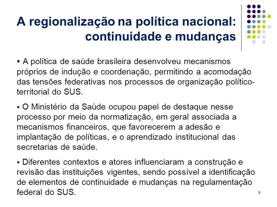 A regionalização na política nacional: continuidade e mudanças A política de saúde brasileira desenvolveu mecanismos próprios de indução e coordenação, permitindo a acomodação das tensões federativas nos processos de organização político- territorial do SUS.