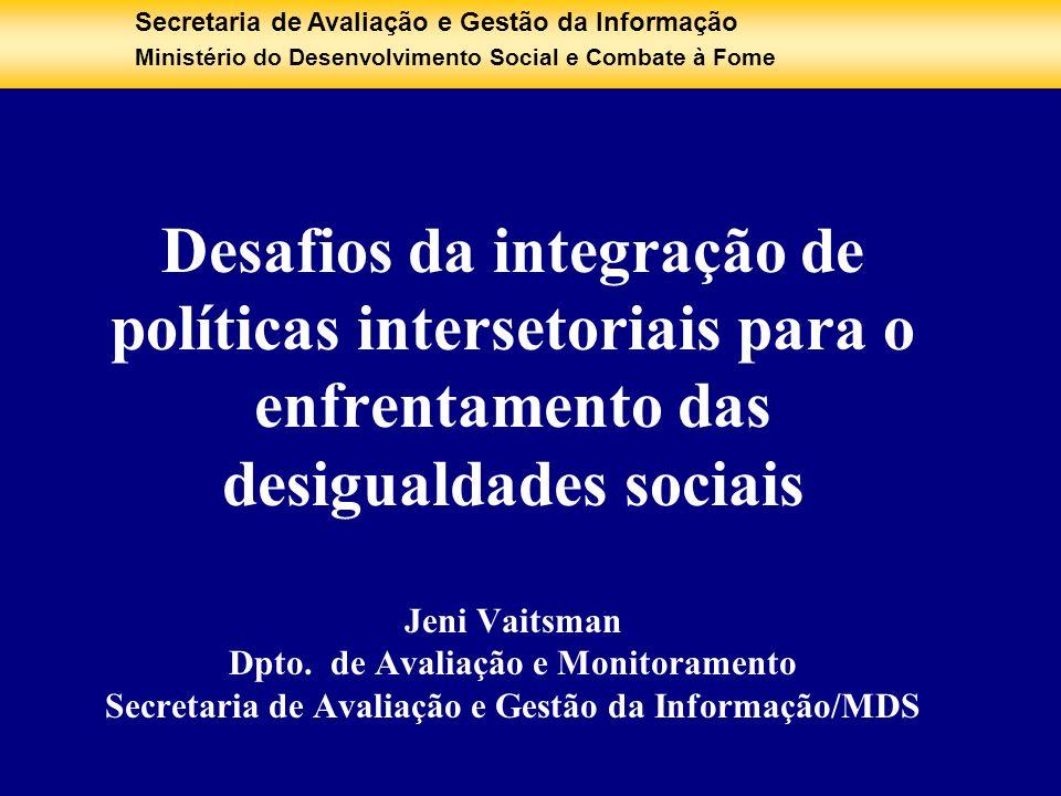 Secretaria de Avaliação e Gestão da Informação Ministério do Desenvolvimento Social e Combate à Fome Desafios da integração de políticas intersetoriai