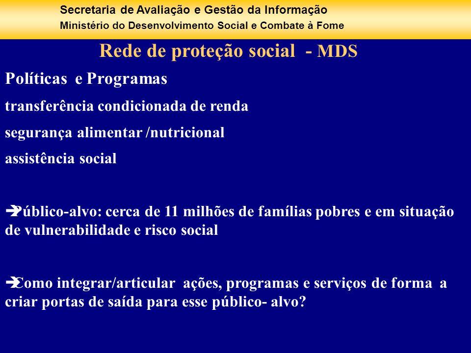 Secretaria de Avaliação e Gestão da Informação Ministério do Desenvolvimento Social e Combate à Fome Rede de proteção social - MDS Políticas e Program