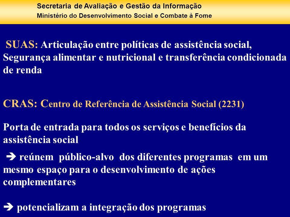 Secretaria de Avaliação e Gestão da Informação Ministério do Desenvolvimento Social e Combate à Fome SUAS : Articulação entre políticas de assistência