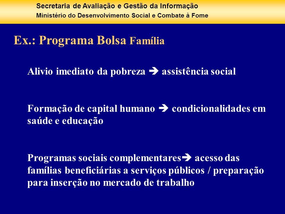 Secretaria de Avaliação e Gestão da Informação Ministério do Desenvolvimento Social e Combate à Fome Ex.: Programa Bolsa Família Alivio imediato da po