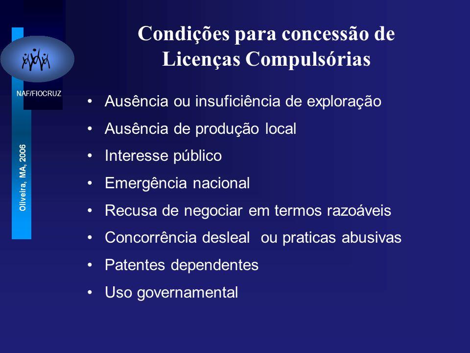 NAF/FIOCRUZ Oliveira, MA, 2006 Condições para concessão de Licenças Compulsórias Ausência ou insuficiência de exploração Ausência de produção local Interesse público Emergência nacional Recusa de negociar em termos razoáveis Concorrência desleal ou praticas abusivas Patentes dependentes Uso governamental