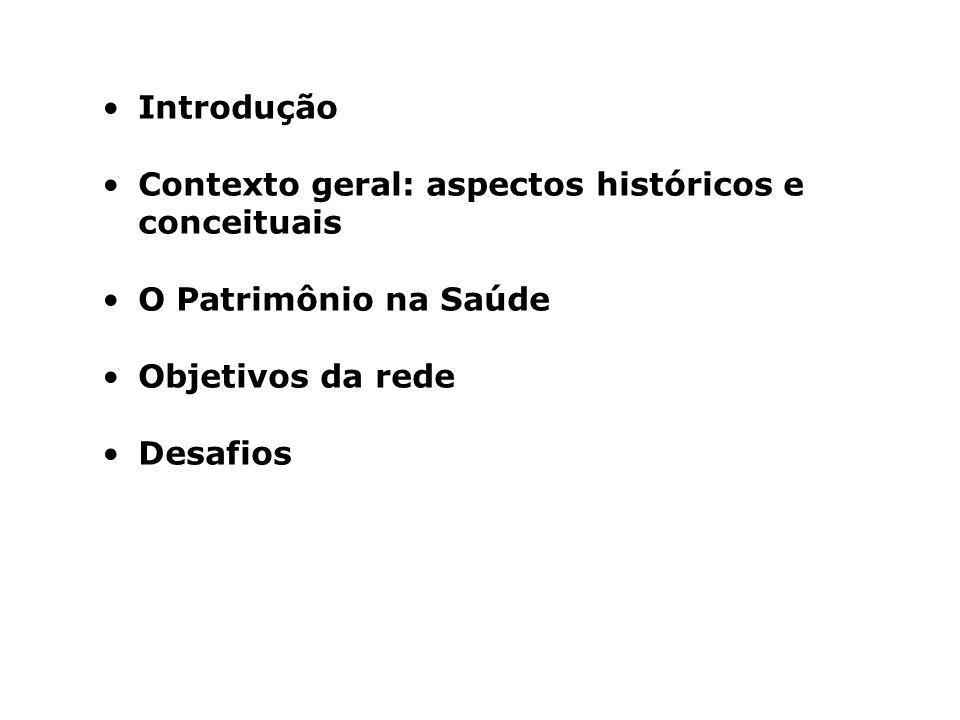 Introdução Contexto geral: aspectos históricos e conceituais O Patrimônio na Saúde Objetivos da rede Desafios