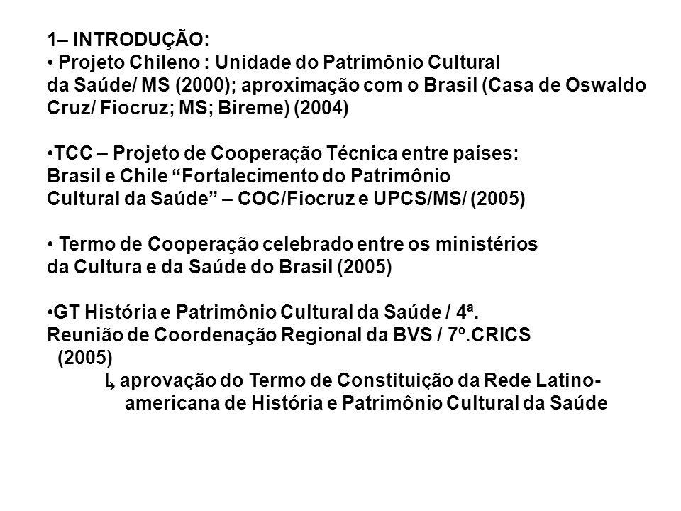 1– INTRODUÇÃO: Projeto Chileno : Unidade do Patrimônio Cultural da Saúde/ MS (2000); aproximação com o Brasil (Casa de Oswaldo Cruz/ Fiocruz; MS; Bire