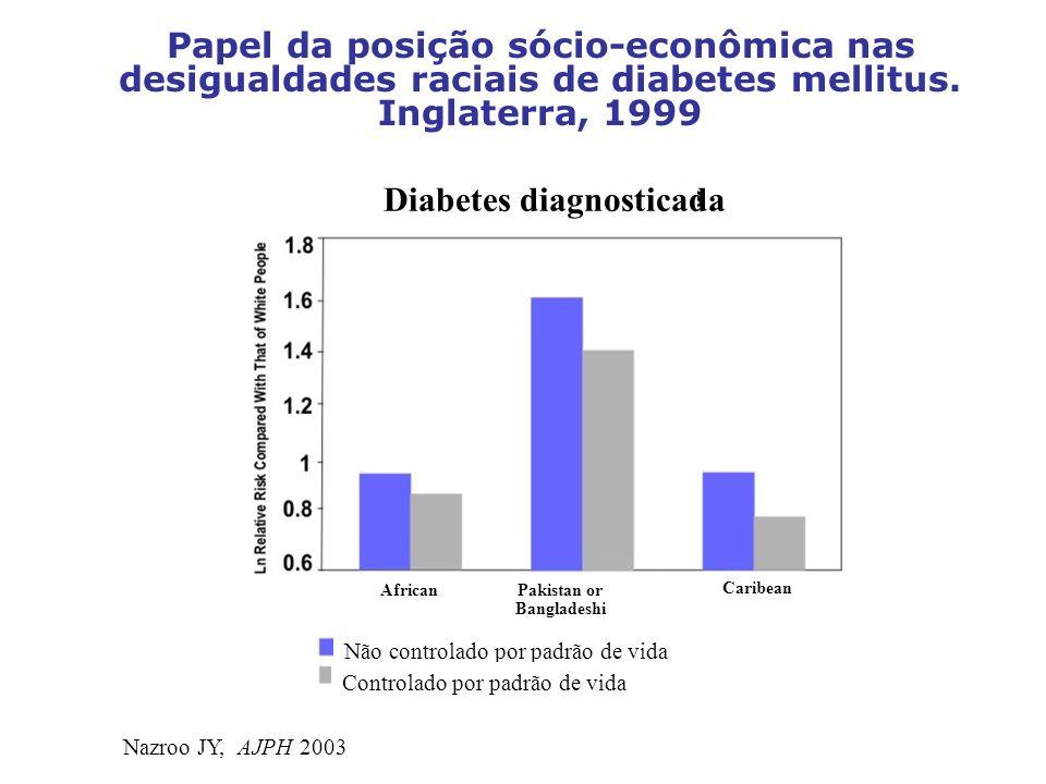 Papel da posição sócio-econômica nas desigualdades raciais de diabetes mellitus. Inglaterra, 1999 Nazroo JY, AJPH 2003 Diabetes diagnosticada AfricanP