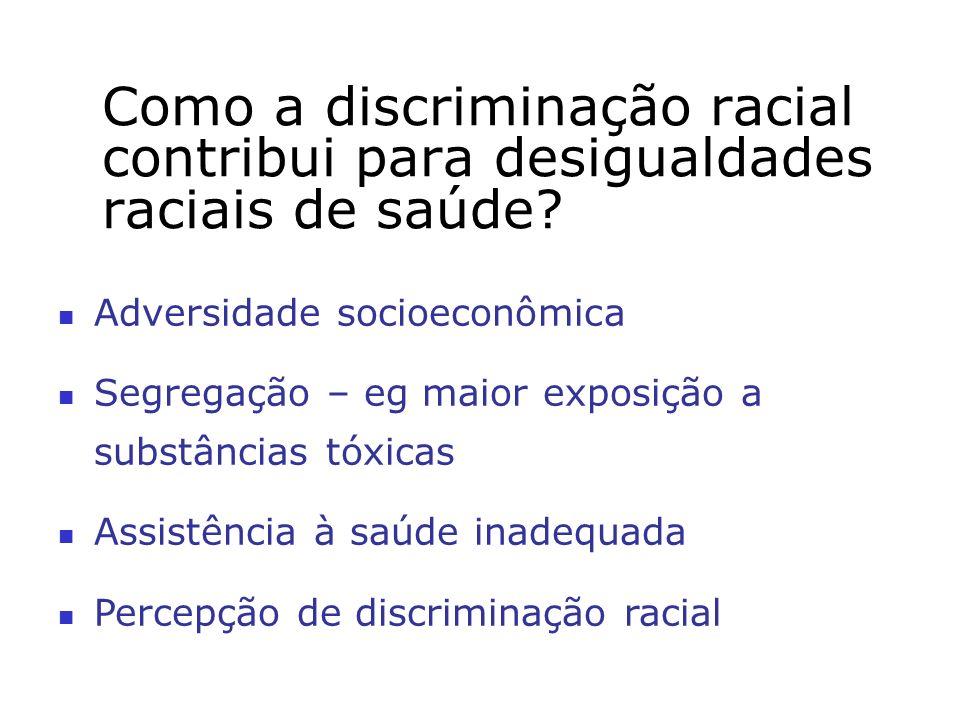 Como a discriminação racial contribui para desigualdades raciais de saúde? Adversidade socioeconômica Segregação – eg maior exposição a substâncias tó