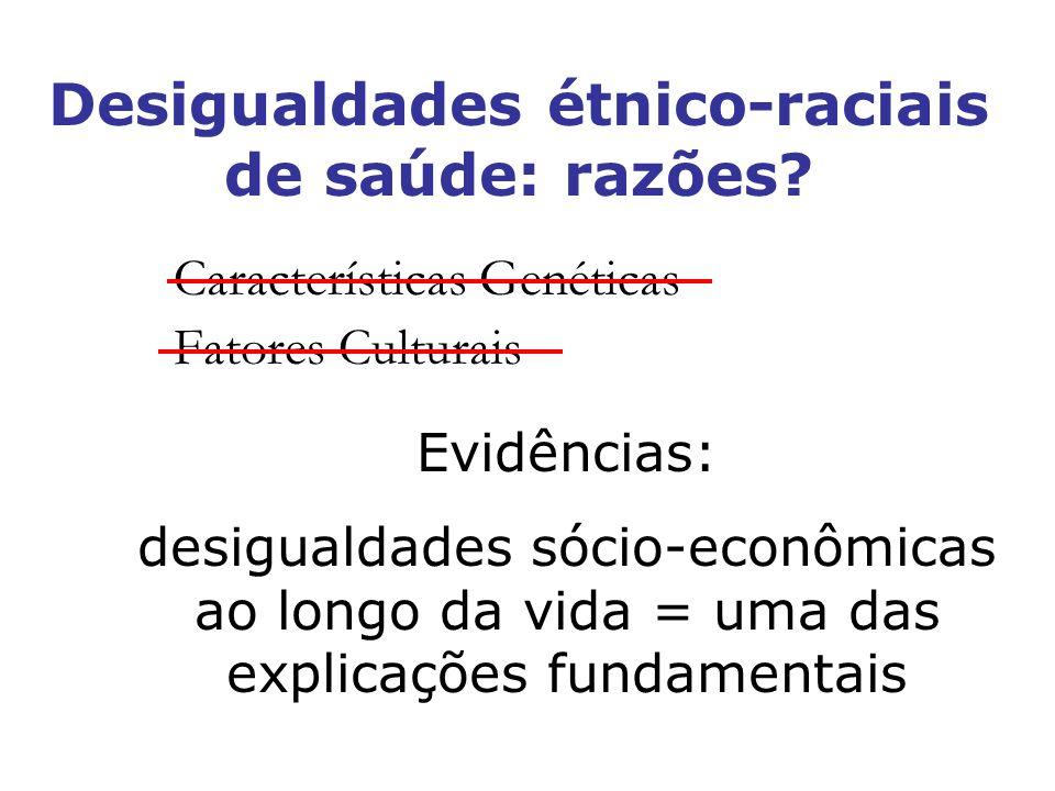 Desigualdades étnico-raciais de saúde: razões? Características Genéticas Fatores Culturais Evidências: desigualdades sócio-econômicas ao longo da vida