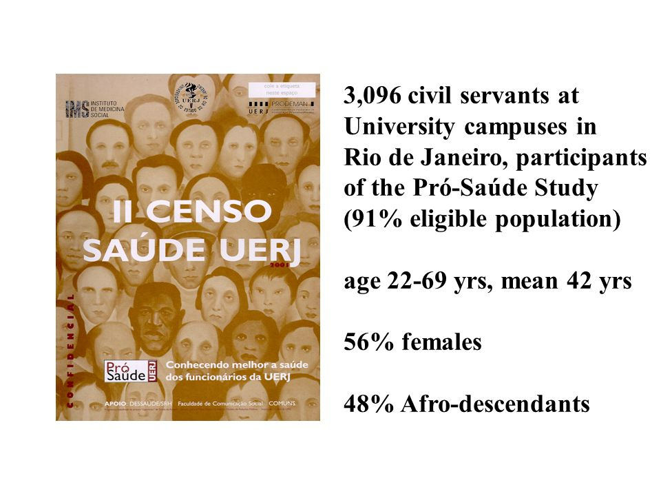 3,096 civil servants at University campuses in Rio de Janeiro, participants of the Pró-Saúde Study (91% eligible population) age 22-69 yrs, mean 42 yr