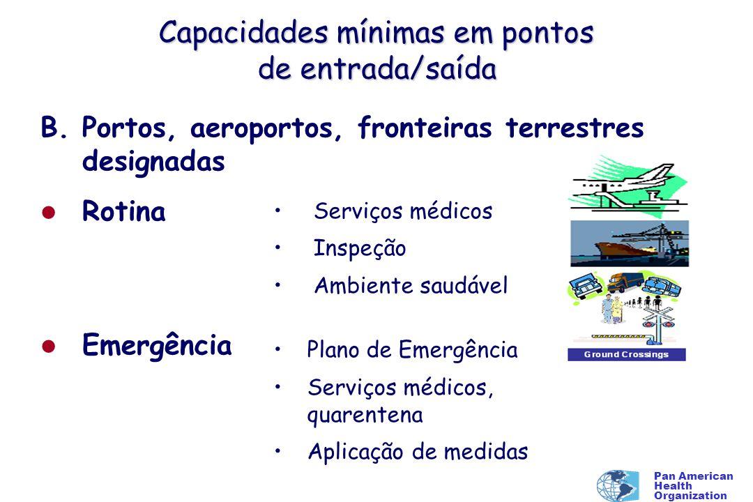 Pan American Health Organization Capacidades mínimas em pontos de entrada/saída B. Portos, aeroportos, fronteiras terrestres designadas l Rotina l Eme