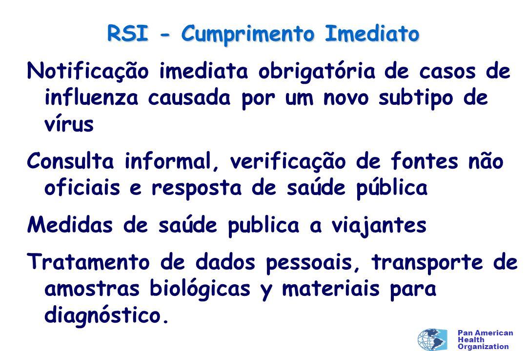 Pan American Health Organization RSI - Cumprimento Imediato Notificação imediata obrigatória de casos de influenza causada por um novo subtipo de víru