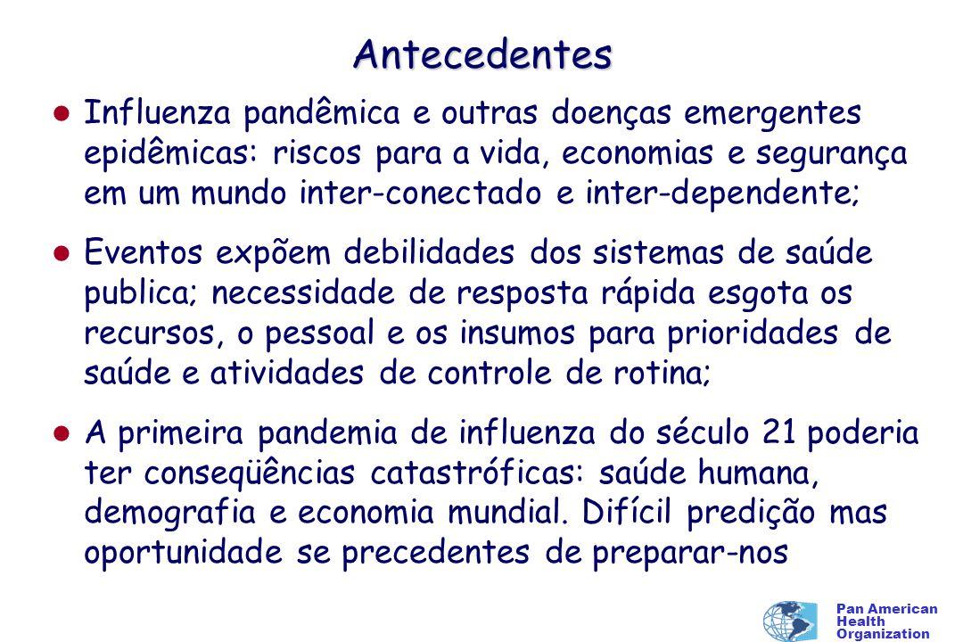 Pan American Health Organization Malaria Falciparum (Bahamas) Suspeito Variola Febre Amarela Resistencia aos antimicrobianos todos os países Legionelosis Surtos notificados - 2005 e 2006 Obitos de macacos (Parque nacional) Botulismo (aves) Rotavirus Chikungunya (Martinica) BSE Sarampo (Aerop.