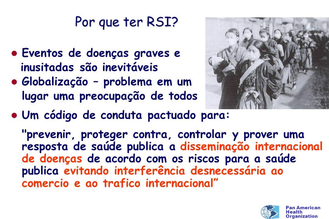 Pan American Health Organization Por que ter RSI? l Eventos de doenças graves e inusitadas são inevitáveis l Globalização – problema em um lugar uma p