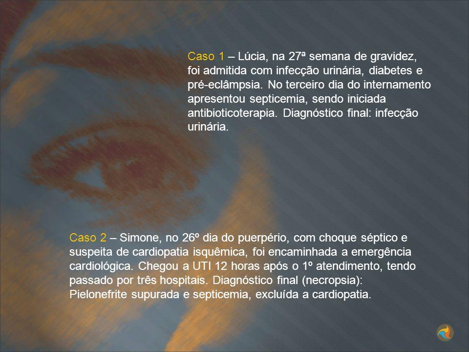 Caso 1 – Lúcia, na 27ª semana de gravidez, foi admitida com infecção urinária, diabetes e pré-eclâmpsia. No terceiro dia do internamento apresentou se