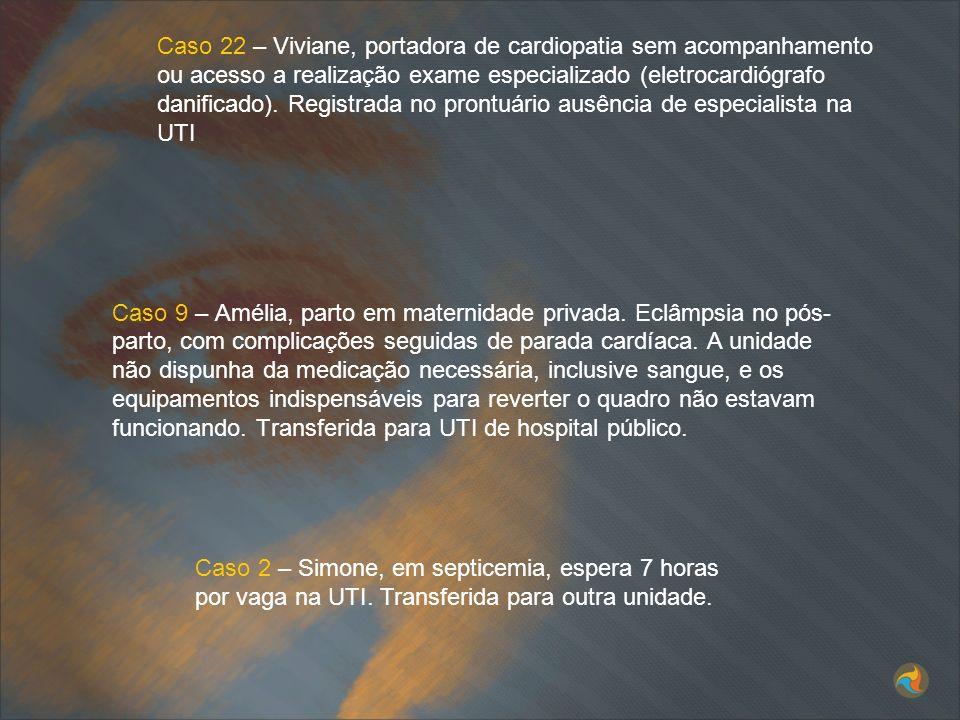Caso 22 – Viviane, portadora de cardiopatia sem acompanhamento ou acesso a realização exame especializado (eletrocardiógrafo danificado). Registrada n