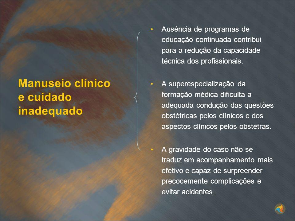 Manuseio clínico e cuidado inadequado Ausência de programas de educação continuada contribui para a redução da capacidade técnica dos profissionais. A