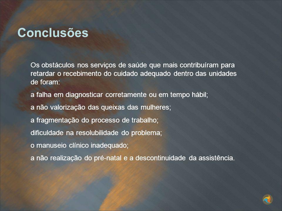 Os obstáculos nos serviços de saúde que mais contribuíram para retardar o recebimento do cuidado adequado dentro das unidades de foram: a falha em dia