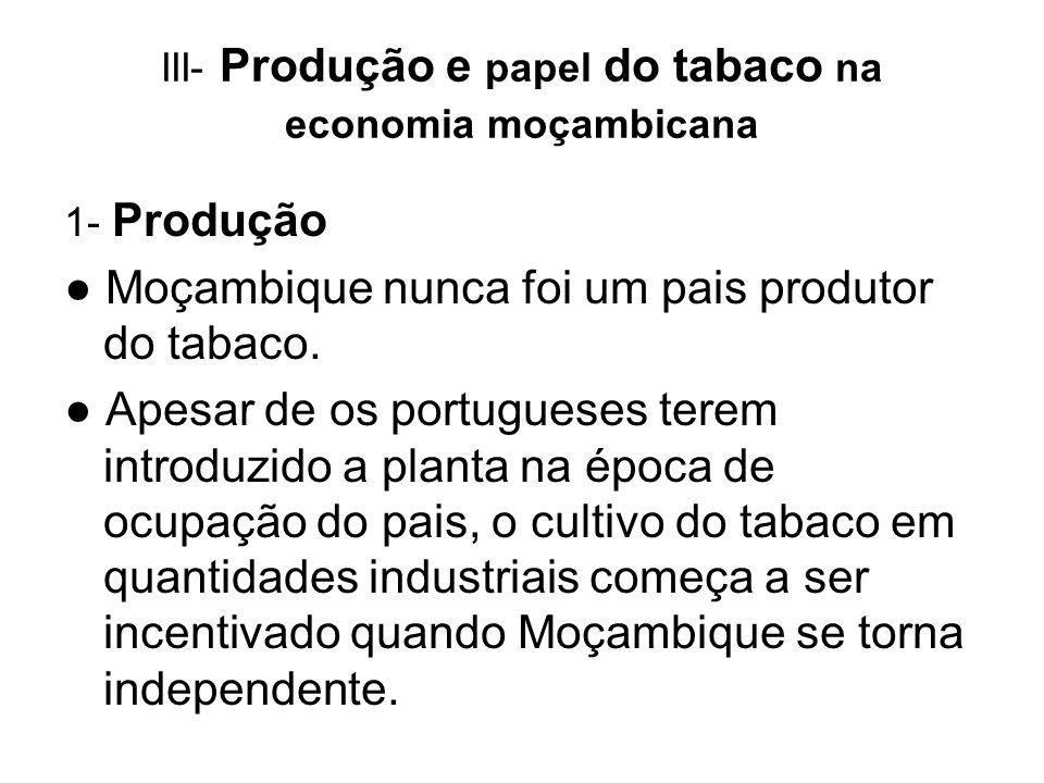 III- Produção e papel do tabaco na economia moçambicana 1- Produção Moçambique nunca foi um pais produtor do tabaco. Apesar de os portugueses terem in
