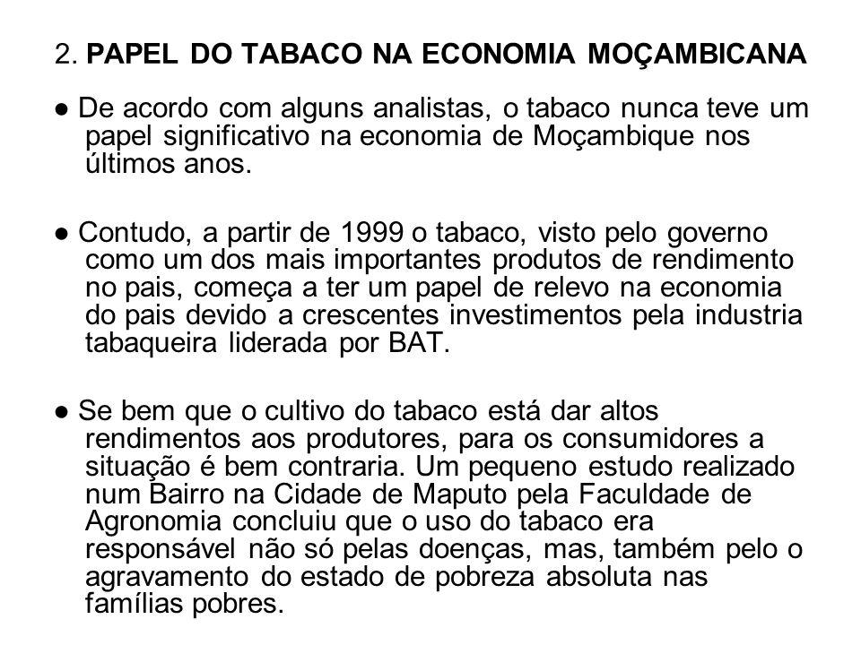 2. PAPEL DO TABACO NA ECONOMIA MOÇAMBICANA De acordo com alguns analistas, o tabaco nunca teve um papel significativo na economia de Moçambique nos úl