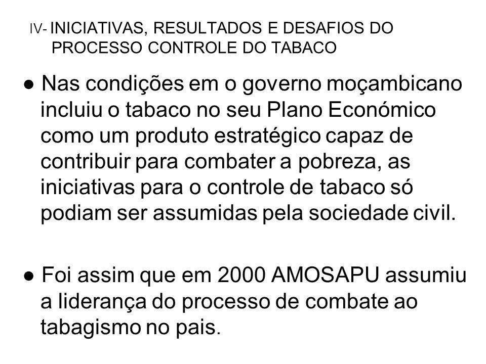 Nas condições em o governo moçambicano incluiu o tabaco no seu Plano Económico como um produto estratégico capaz de contribuir para combater a pobreza