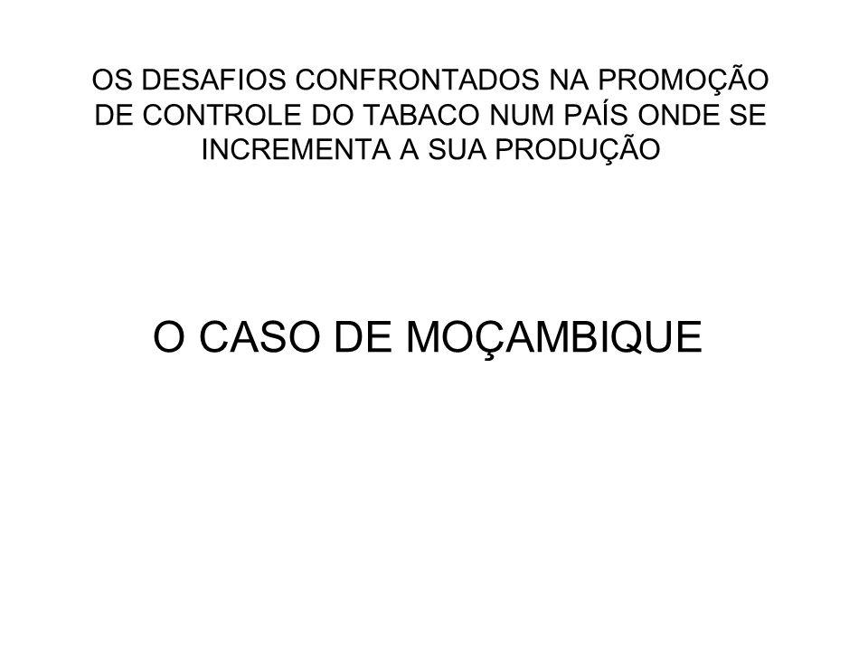 OS DESAFIOS CONFRONTADOS NA PROMOÇÃO DE CONTROLE DO TABACO NUM PAÍS ONDE SE INCREMENTA A SUA PRODUÇÃO O CASO DE MOÇAMBIQUE