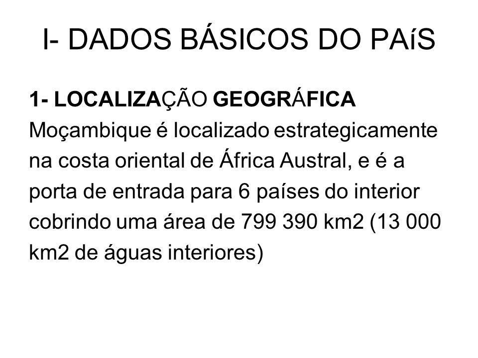 I- DADOS BÁSICOS DO PAíS 1- LOCALIZAÇÃO GEOGRÁFICA Moçambique é localizado estrategicamente na costa oriental de África Austral, e é a porta de entrad