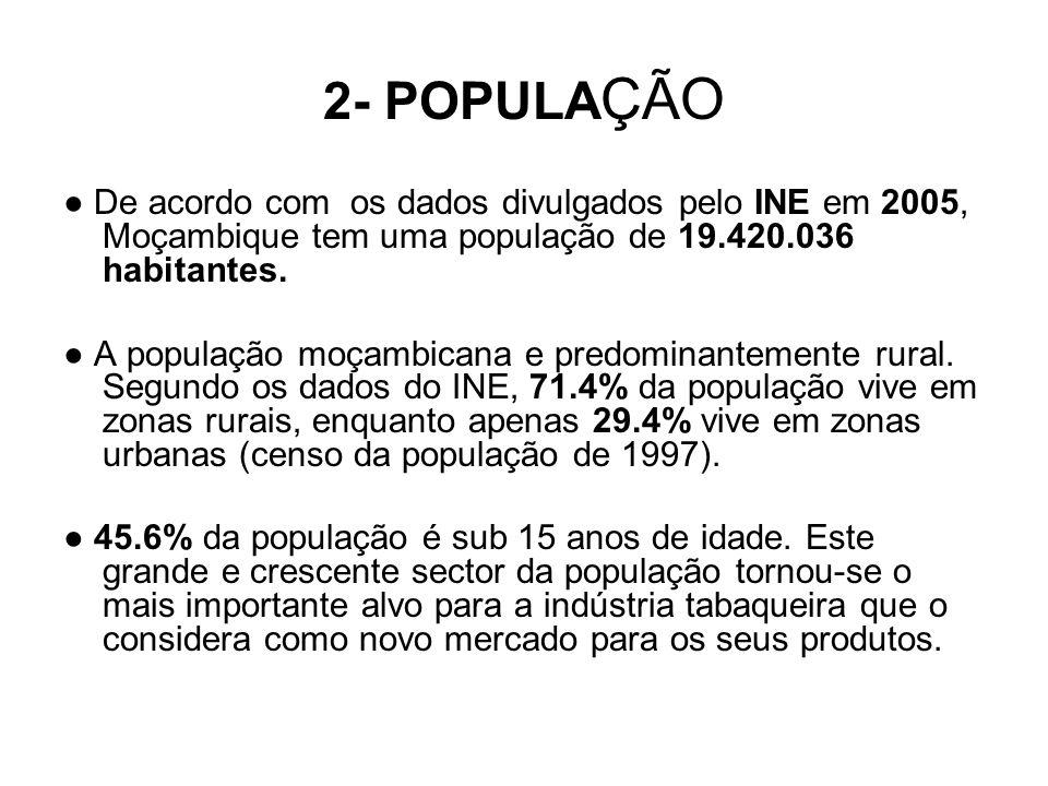 2- POPULA ÇÃO De acordo com os dados divulgados pelo INE em 2005, Moçambique tem uma população de 19.420.036 habitantes. A população moçambicana e pre