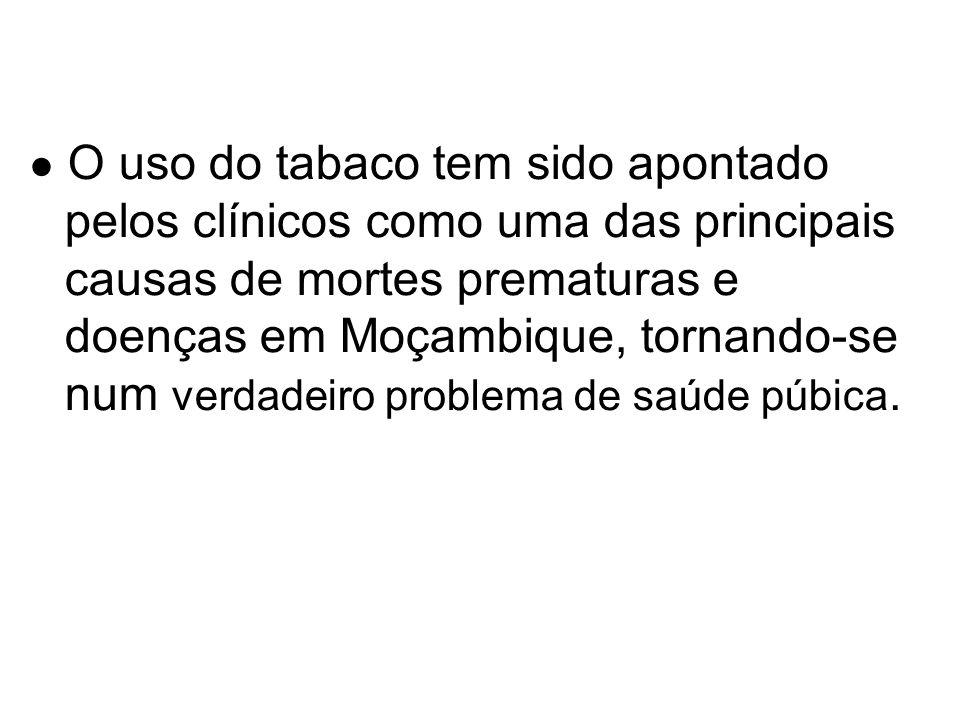 O uso do tabaco tem sido apontado pelos clínicos como uma das principais causas de mortes prematuras e doenças em Moçambique, tornando-se num verdadei