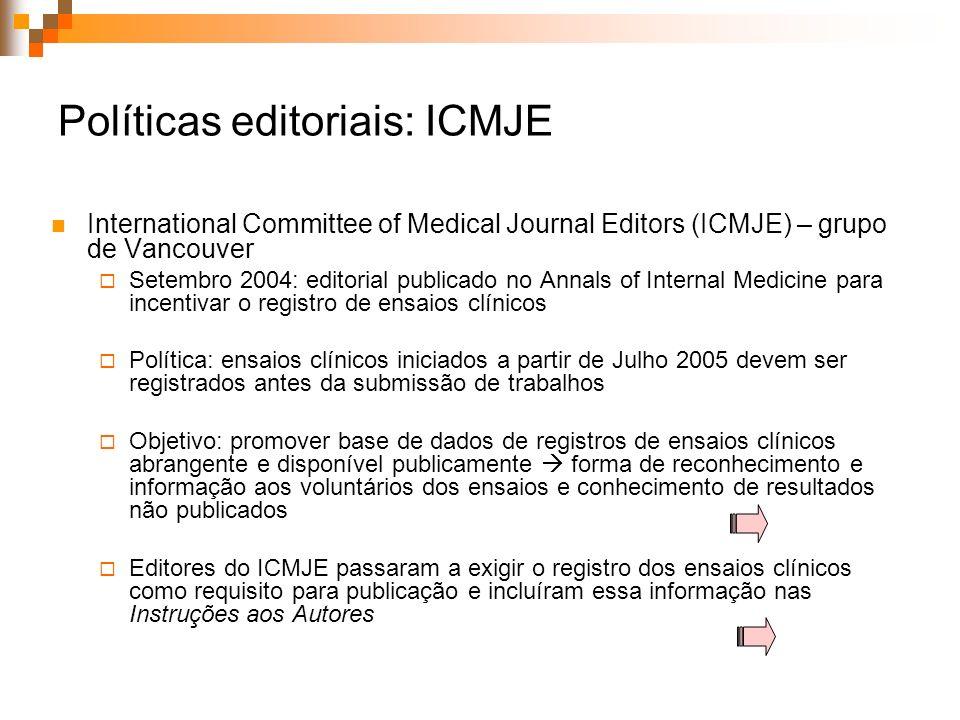 Políticas editoriais: ICMJE International Committee of Medical Journal Editors (ICMJE) – grupo de Vancouver Setembro 2004: editorial publicado no Anna
