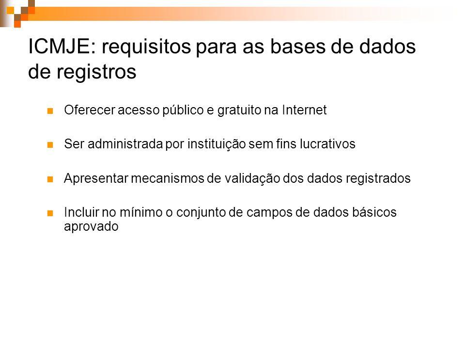 ICMJE: requisitos para as bases de dados de registros Oferecer acesso público e gratuito na Internet Ser administrada por instituição sem fins lucrati