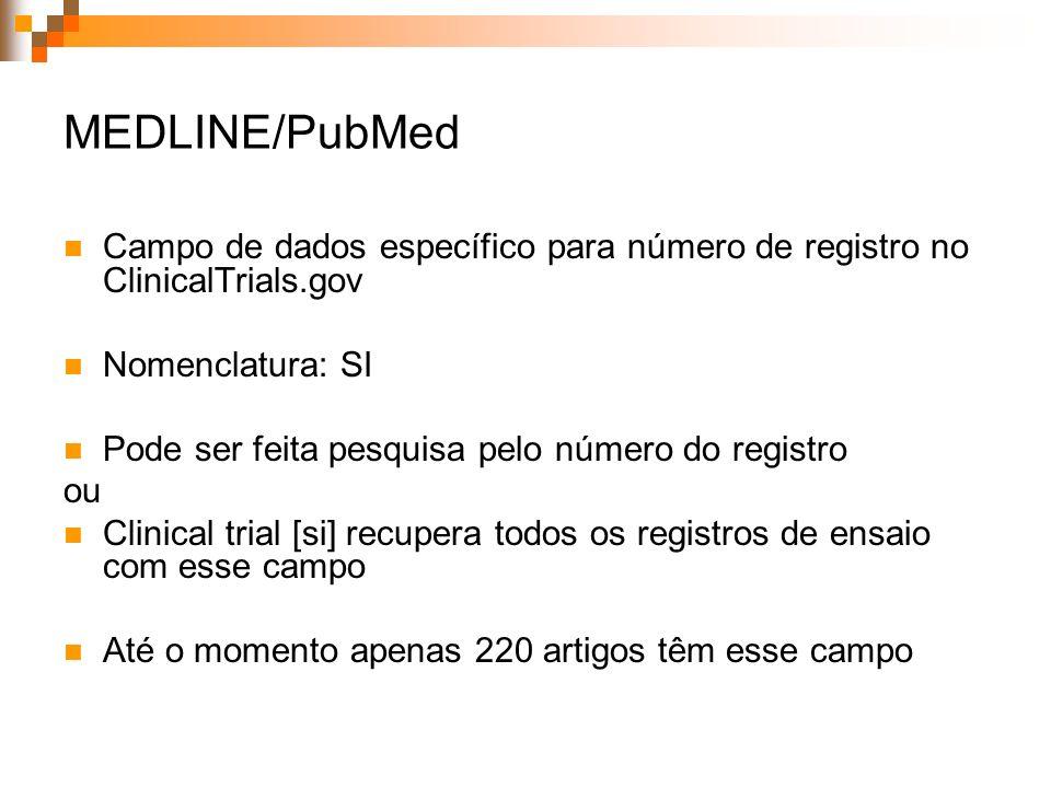 Ensaios clínicos nas bases LILACS e MEDLINE, 1996-2006 MEDLINELILACS* Total de registros 5.247.474202.011 Registros de ensaios clínicos 236.8231.696 % do total 4,50,8 Registros em revistas brasileiras 522582 % do total de ensaios clínicos 0,237,7 * Literatura Latino-Americana e do Caribe em Ciências da Saúde