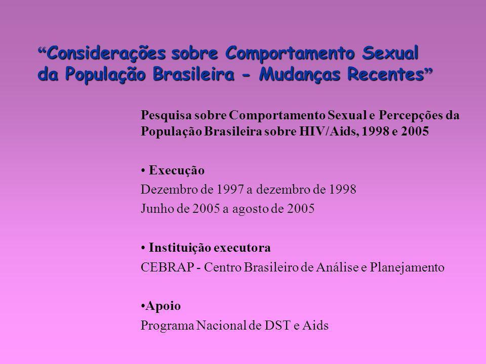 Considerações sobre Comportamento Sexual da População Brasileira - Mudanças Recentes Considerações sobre Comportamento Sexual da População Brasileira